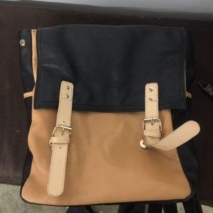 Free People Loved Leather Messenger Backpack black